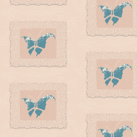 Butterfly - slate blue/pink/white fabric by materialsgirl on Spoonflower - custom fabric