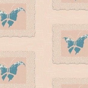 Butterfly - slate blue/pink/white