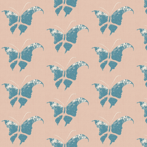 Butterfly - slate blue/pink/white/linen only fabric by materialsgirl on Spoonflower - custom fabric