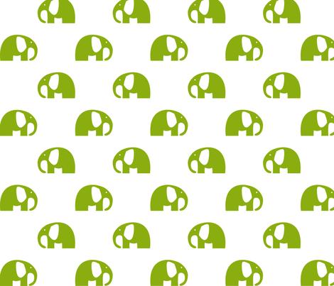 elephants_6cm_green fabric by two_little_flowers on Spoonflower - custom fabric