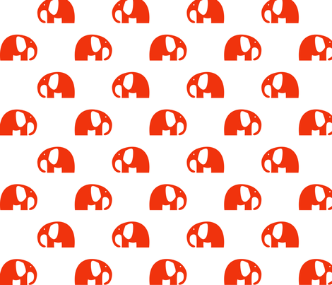 elephants_6cm_red fabric by two_little_flowers on Spoonflower - custom fabric