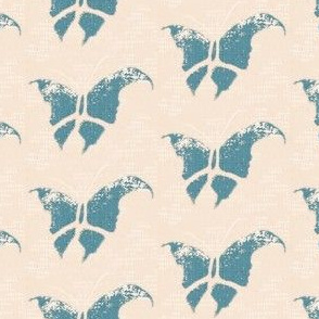 Butterfly - slate blue/pink/white/crepe cloth