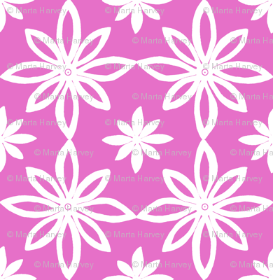 Pattern With 2 Flowers in Pink and White