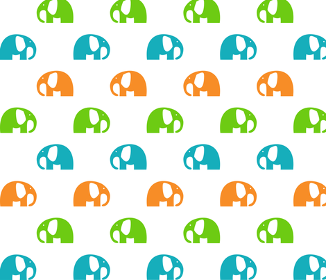elephants_6cm_blue-green-orange fabric by two_little_flowers on Spoonflower - custom fabric
