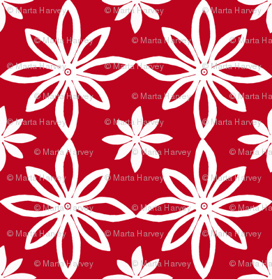 Pattern With 2 Flowers in Red and White