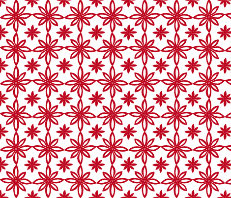 Pattern With 2 Flowers in White and Red fabric by martaharvey on Spoonflower - custom fabric