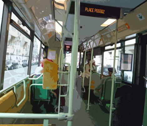 32 Bus near Place Possoz, Paris fabric by susaninparis on Spoonflower - custom fabric