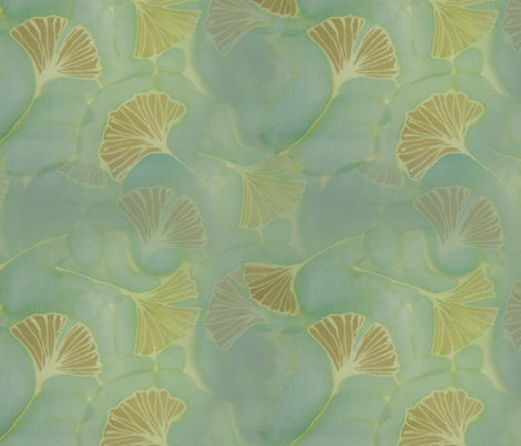 Ginkgo leaves on blue green fabric by lauriekentdesigns on Spoonflower - custom fabric