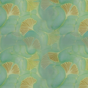 Ginkgo leaves on blue green