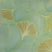 Ginkgo leaves on blue green