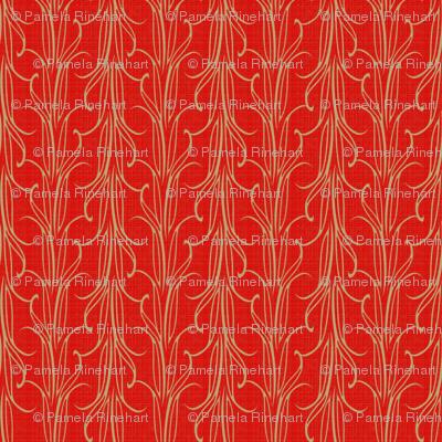 lily_leaf_stripe_beige_on_flame