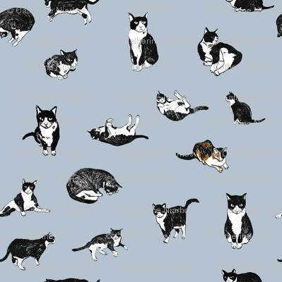 Tuxedo Cat Pattern Wallpaper Onelittlestar Spoonflower