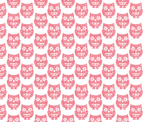 Sparkle Owls- Pink fabric by cynthiafrenette on Spoonflower - custom fabric