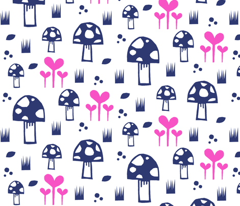 mushroompink fabric by modern_day_magpie on Spoonflower - custom fabric