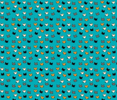 Scattered Kitties - Aqua fabric by graycatbird on Spoonflower - custom fabric