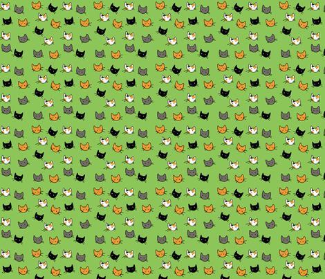 Scattered Kitties - Avocado fabric by graycatbird on Spoonflower - custom fabric