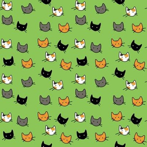 Scattered Kitties - Avocado