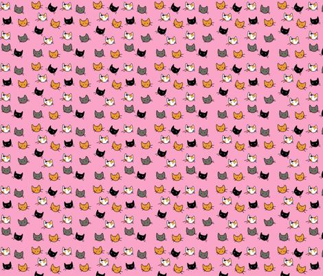 Scattered Kitties - Pink fabric by graycatbird on Spoonflower - custom fabric