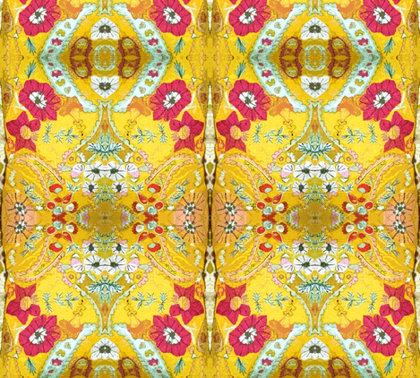 Yellow Garden of Delight-large fabric by susaninparis on Spoonflower - custom fabric