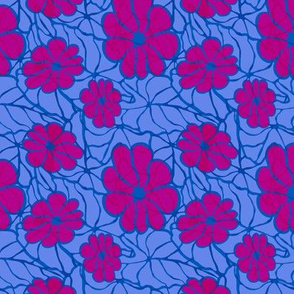 Flower Power in Blue and Pink