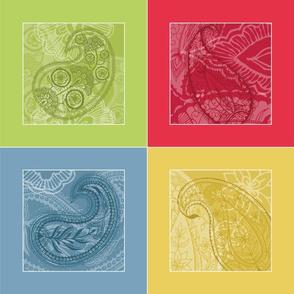 "Paisley Napkin Set (8"" hemmed)"