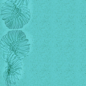 Monstera Teal border design