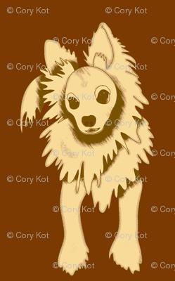Frank Sinatra PapiPom dog design - brown