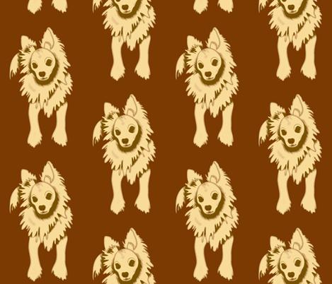 Frank Sinatra PapiPom dog design - brown fabric by waiomaotiki on Spoonflower - custom fabric