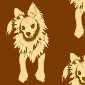 Frank Sinatra PapiPom dog design - brown