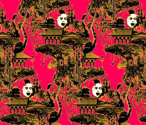 strange-flying-island-fiery_pink2 fabric by marcador on Spoonflower - custom fabric