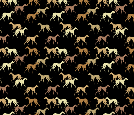 azawakhs on black2 fabric by lobitos on Spoonflower - custom fabric