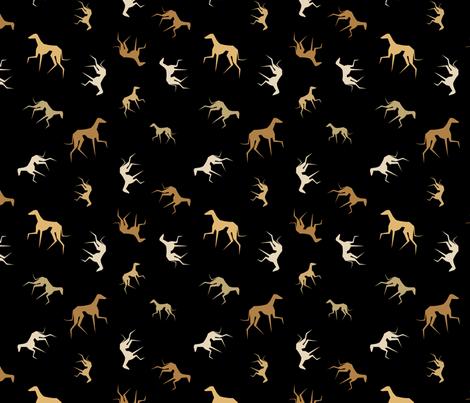 azawakhs on black1 fabric by lobitos on Spoonflower - custom fabric