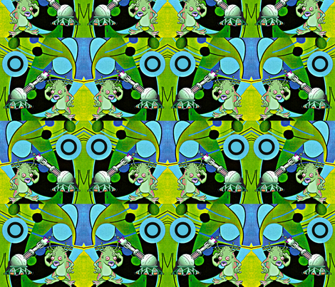 Alien Pop Art Artist. fabric by whimzwhirled on Spoonflower - custom fabric