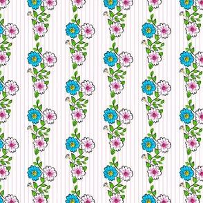Carousel Ponies - Coordinating Flowers Stripe Print