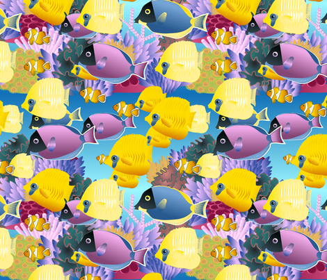 underwater scene fabric by kociara on Spoonflower - custom fabric