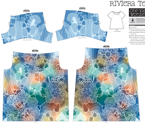 The underwater flowers Riviera Tee fabric by lena_sokol on Spoonflower - custom fabric