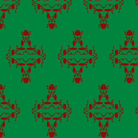 Green and Red Christmas Damask fabric by captiveinflorida on Spoonflower - custom fabric