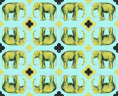 Elefante - golden chartreuse and seafoam