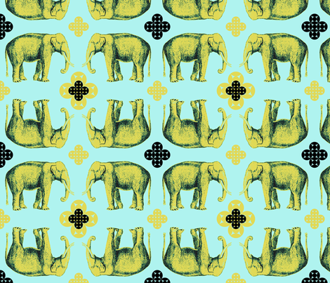 Elefante - golden chartreuse and seafoam fabric by marcador on Spoonflower - custom fabric