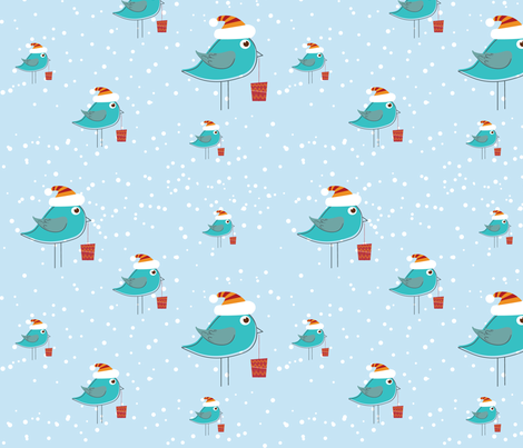 Christmas Blue Birds fabric by lesrubadesigns on Spoonflower - custom fabric
