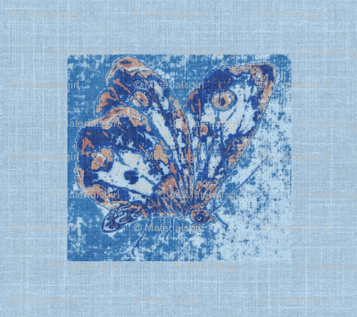 butterfly on blue linen