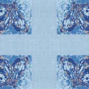 butterfly on blue linen