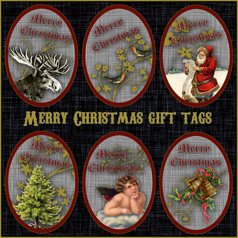 Merry Christmas gift tags fabric by glanoramay on Spoonflower - custom fabric