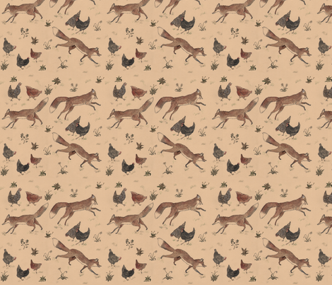 Hens and Foxes fabric by swanbones on Spoonflower - custom fabric