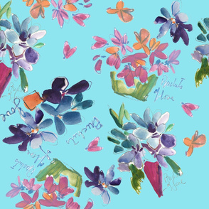 Buckets of Love Wildflowers Blue Violets on Turquoise