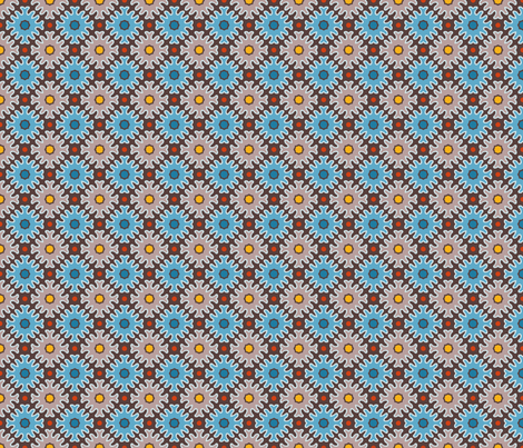 Bold Frilly Dots in Cocoa and Blue fabric by jumeaux on Spoonflower - custom fabric