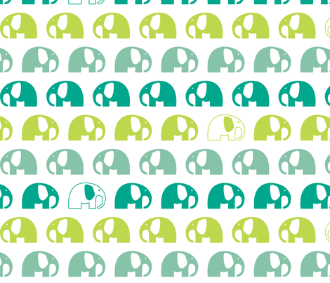 elephants_6cm_3row_blue-green-blue fabric by two_little_flowers on Spoonflower - custom fabric