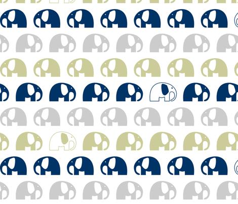elephants_6cm_3row_blue-grey-khaki fabric by two_little_flowers on Spoonflower - custom fabric