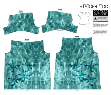 Light underwater with baby seaturtles - Storey Riviera tee fabric by mina on Spoonflower - custom fabric