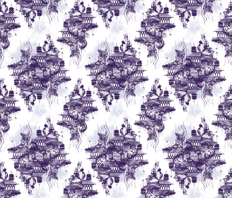 STRANGE FLYING ISLAND TOILE - purple fabric by marcador on Spoonflower - custom fabric